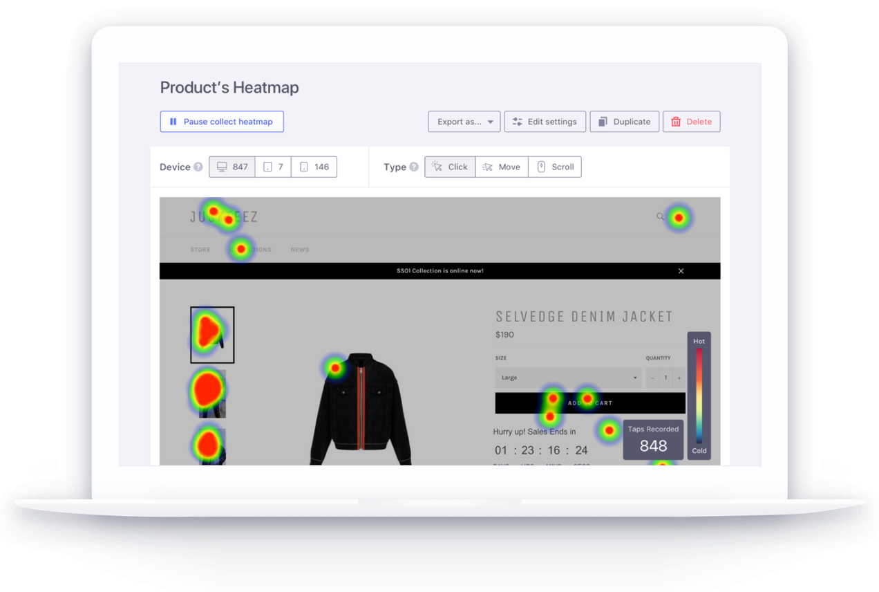 Increase sales on ecommerce store with heat maps and insightful