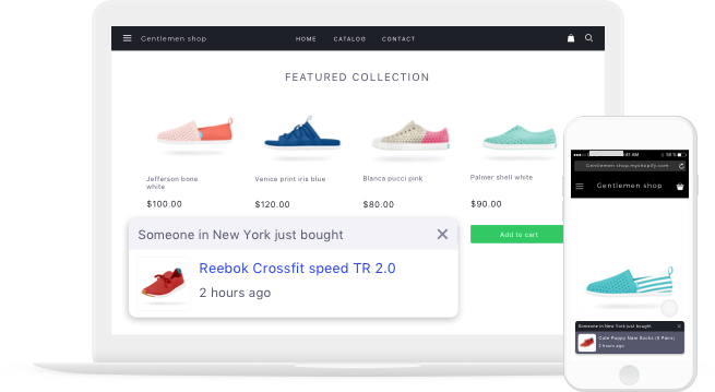 Increase sales on ecommerce store with sales pop